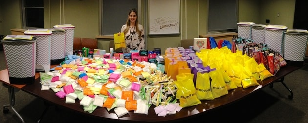 Elena Gueorguiev with donated products
