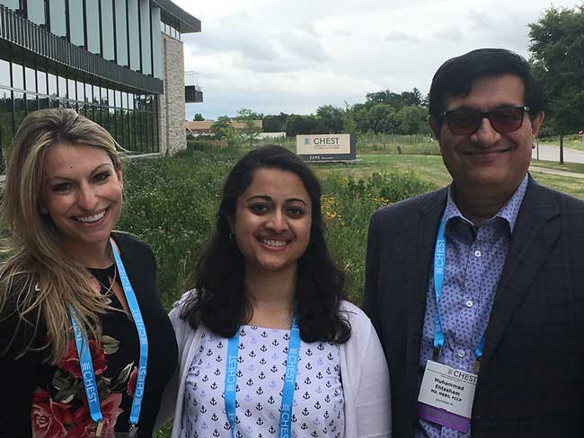 Dr. Priyanka Jain (center) with colleagues at the American College of Chest Physicians