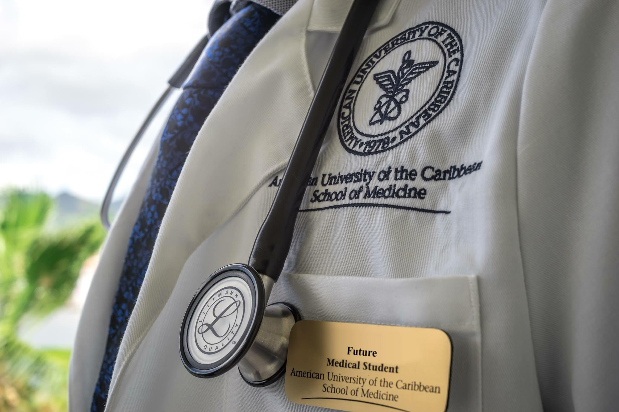 Up close view of white coat and stethoscope